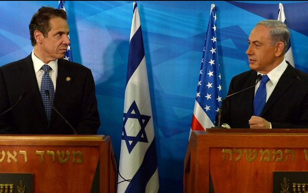 Prime Minister Benjamin Netanyahu (R) holds a joint press conference with New York Governor Andrew Mark Cuomo, at Netanyahu's office in Jerusalem, Wednesday, August 13, 2014. (photo credit: Haim Zach/GPO/Flash90)