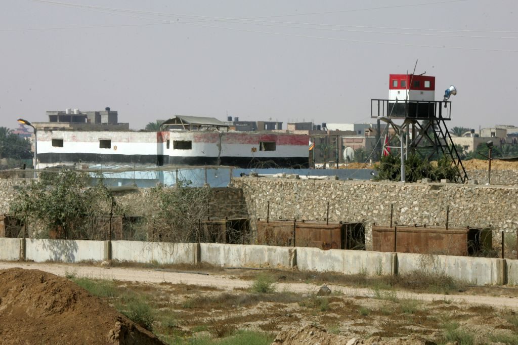 An Egyptian security control tower near the Egypt Gaza border at Rafah in the southern Gaza Strip