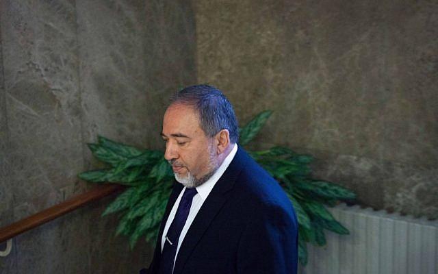Foreign Minister Avigdor Liberman in Jerusalem on August 17, 2014. (photo credit: Emil Salman/Pool/Flash90)