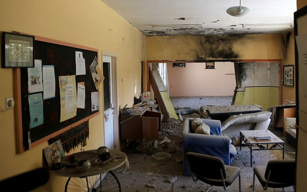 Damage seen in a home hit by a mortar shell in the Eshkol region on August 21, 2014. (Photo credit: Flash90)