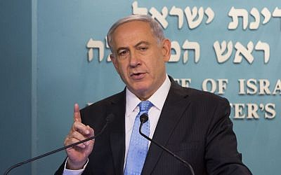 Prime Minister Benjamin Netanyahu speaks at a press conference at the Prime Minister's Office in Jerusalem on Wednesday, August 27, 2014 (photo credit: Yonatan Sindel/Flash90)
