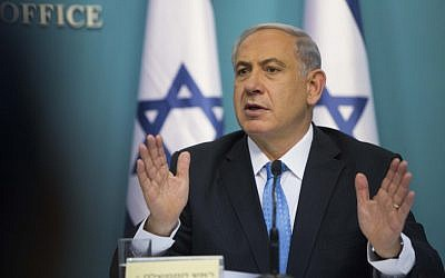 Prime Minister Benjamin Netanyahu speaks at a press conference at his office in Jerusalem on August 27, 2014. (photo credit: Yonatan Sindel/Flash90)