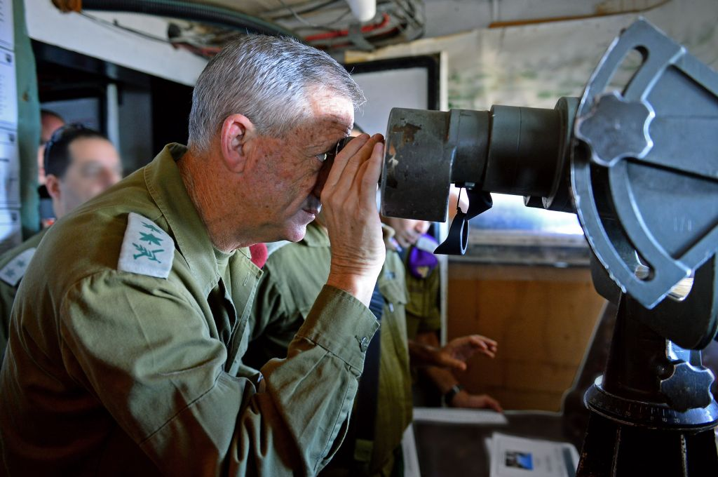 IDF Chief of Staff Benny Gantz near the border with Syria in the Golan Heights, northern Israel, on August 28, 2014. (photo credit: IDF Spokesperson/Flash90)