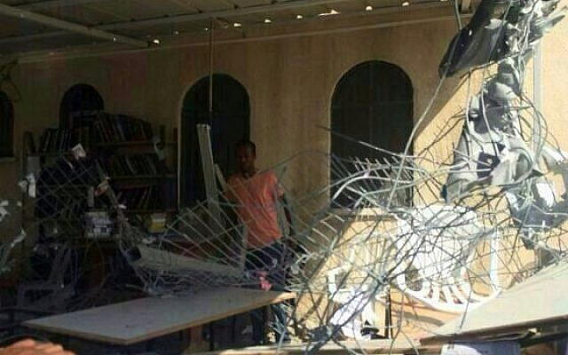 Ashdod synagogue hit by Gaza rocket sustains heavy damage, August 22, 2014. (Photo credit: Israel Police)