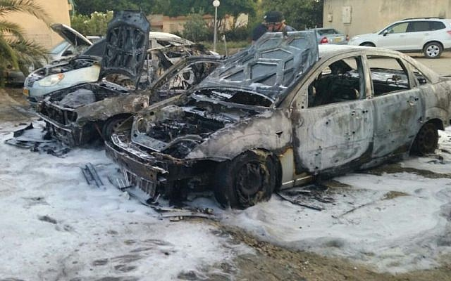 A mortar shell fired from Gaza made a direct hit on a car in a kibbutz in the Sha'ar Hanagev region, killing a four-year-old boy, August 22, 2014. (Photo credit: Israel Police)