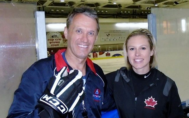 Laurie Boschman, left, and Tessa Bonhomme were members of an eight-person North American delegation who brought a hockey camp to young Israelis at the Canada Centre in Metulla, July 2014. (photo credit: JTA/Courtesy: Laurie Boschman)