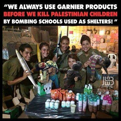 Meme depicting female IDF soldiers holding a macabre assortment of missiles and dead babies. (courtesy)