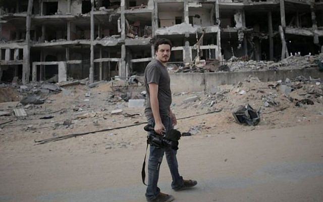 This Monday, August 11 2014 photo shows Associated Press video journalist Simone Camilli in Beit Lahiya, Gaza Strip.(photo credit: AP/Khalil Hamra)