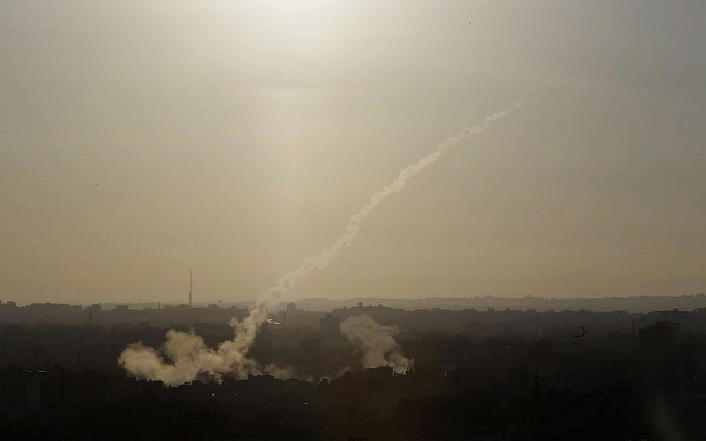 Illustrative. A rocket is fired at Israel from Gaza on August 9, 2014. (AP/Dusan Vranic)