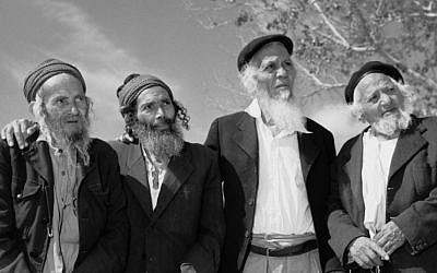 A group of Yemenite men, residents of an Israeli village for the aged maintained through JDC/Malben. Israel, 1963 (courtesy)