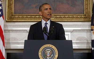 US President Barack Obama speaks at the White House on August 7, 2014. (Photo credit: AP/Charles Dharapak)