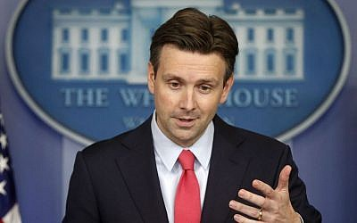 White House press secretary Josh Earnest, August 27, 2014. (photo credit: AP/Charles Dharapak)