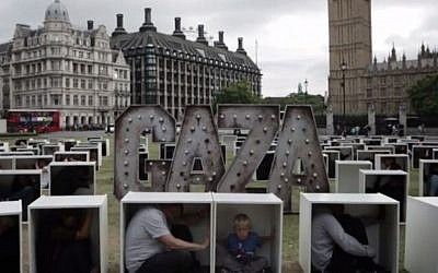 Screenshot from the Oxfam UK protest in central London on August 14, 2014, used to 'illustrate the conditions faced by the people in Gaza who are trapped by the blockade.'