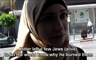 A Palestinian respondent talks to filmmaker Corey Gil-Shuster about her feelings on the Holocaust, July, 2014 (screen capture: YouTube)