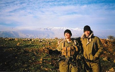 Joel Chasnoff (left) and Tim Bailey in the Golan where they served together in the 188th Brigade in the late 1990s. (Joel Chasnoff)