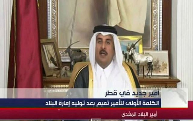Qatar's emir Sheikh Tamim bin Hamad al-Thani. (screen capture: YouTube/MTVLebanonNews)