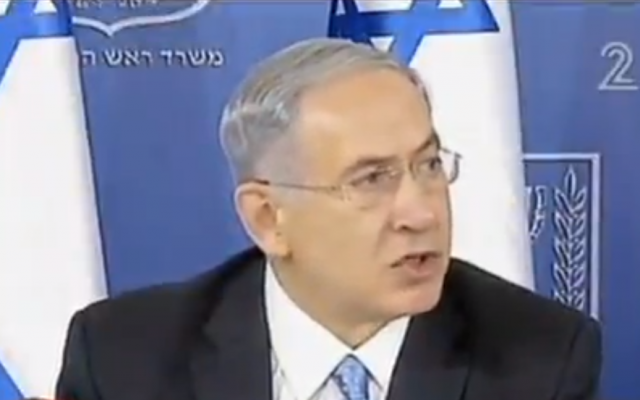 Prime Minister Benjamin Netanyahu speaks at a press conference Saturday, August 2, 2014. (screen capture: Channel 2)