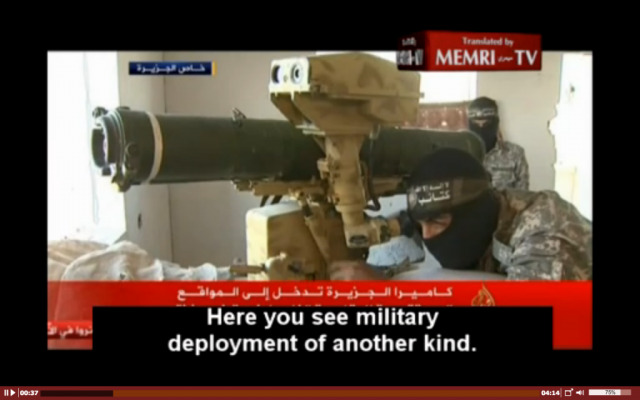 Still from al-Jazeera's footage, broadcast on Wednesday, August 6, showing Hamas gunmen, weapons and tunnels in place ahead of Hamas's breach of the truce on August 8. (photo credit: screenshot MEMRI)