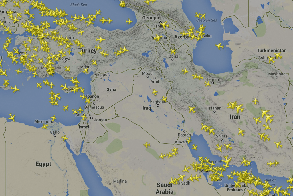 Screen capture of Flightradar24.com data showing commercial flights in the Middle East on August 9, 2014.