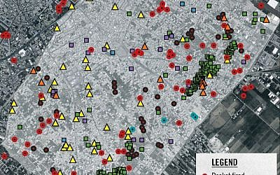 A map distributed by the IDF depicts terror infrastructure in the Gaza City neighborhood of Shejaiya (Photo credit: IDF)