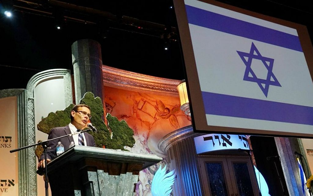 Israel Consul General In LA David Siegel addresses the memorial for fallen lone soldier Max Steinberg. (Credit; Orly Halevy)