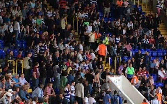 Illustrative: A Queen's Park Rangers fan is ejected from a game against Tottenham Hotspur for waving a Palestinian flag. (screen capture:YouTube/Nick Cresner)