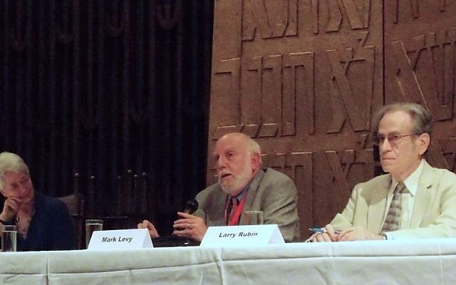 Jewish civil rights volunteers Heather Booth, Mark Levy and Larry Rubin participating in a panel in Jackson, Miss., to mark the 50th anniversary of Freedom Summer, June 2014. (Institute of Southern Jewish Life via JTA)