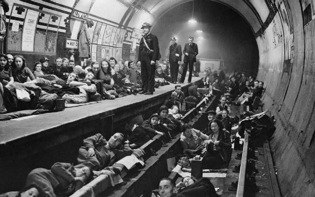 Taking shelter at London's Aldwych tube station, 1940. There were bombings almost every night during the Blitz. (photo credit: Imperial War Museum/public domain)