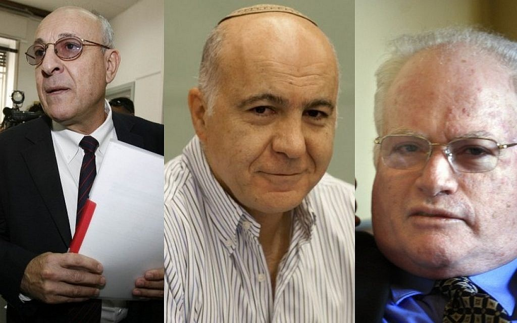 Yitzhak Molcho (left), Shin Bet chief Yoram Cohen (center) and Amos Gilad (right), three of the prime minister's envoys to Cairo ceasefire talks (Photo credit: Michal Fattal, Yossi Zamir/Flash90)