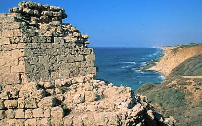 Apollonia, with the Mediterranean Sea in the background (photo credit: Shmuel Bar-Am)