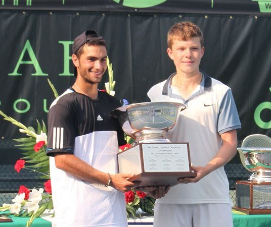 Noah Rubin and his partner, Stefan Kozlov won the doubles championship in Kalmazoo and received automatic entry into the US Open doubles draw. (Melanie Rubin)