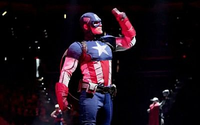 Captain America salutes the parents who got dragged to this thing. (photo credit: Courtesy Feld Entertainment)