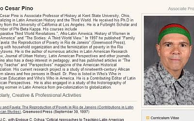 Screenshot from the profile page of virulent anti-Israel professor Dr. Julio Pino.