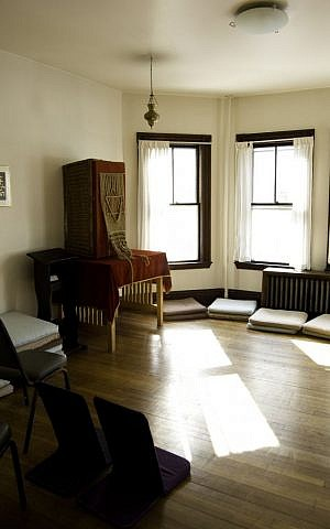 The davening room at Havurat Shalom, virtually unchanged since the early 1970s. (Jesse Edsell-Vetter/JTA)