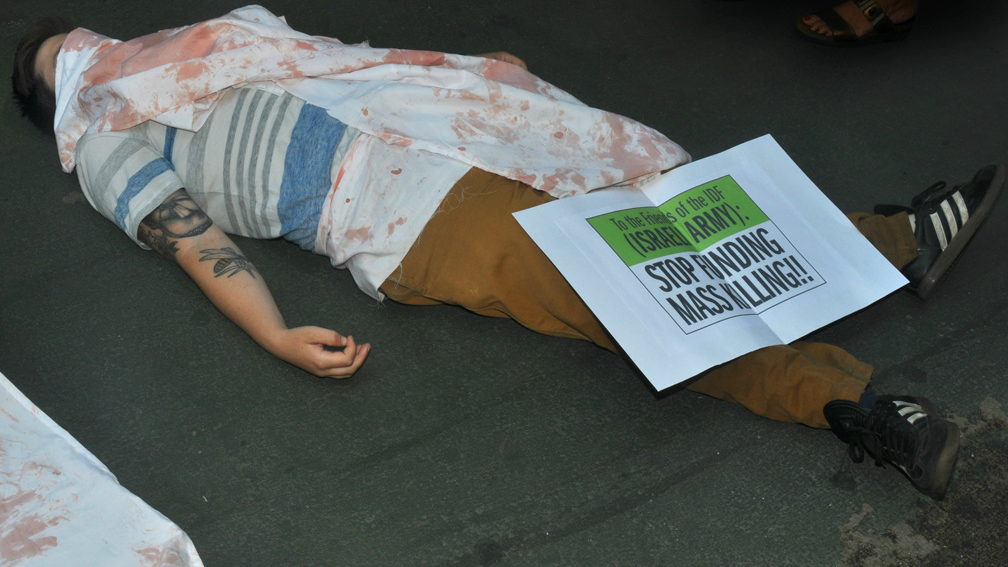 Jewish Voice for Peace protest against Friends of the Israel Defense Forces in New York, July 22, 2014. (courtesy Jewish Voice for Peace)