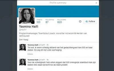Dutch Justice Ministry employee Yasmina Haifi's Twitter feed.