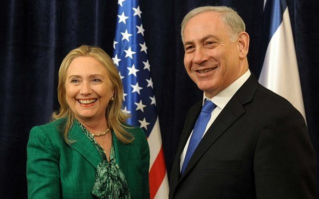 Then secretary of state Hillary Clinton meets with Prime Minister Benjamin Netanyahu during the 67th United Nations General Assembly in New York, September 27, 2012. (Photo credit: Avi Ohayon/ GPO / Flash90)