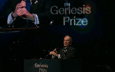 Former mayor of New York City, Michael Bloomberg, speaks during the Genesis Award Ceremony at the Jerusalem Theater, on Thursday, May 22, 2014. (photo credit: Ohad Zwigenberg/POOL/Flash 90)
