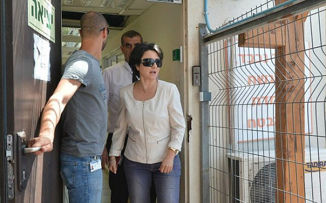 "MK Hanin Zoabi seen leaving the ""Lahav 443"" unit of the Israel Police on August 11, 2014, (photo credit: Flash90)"