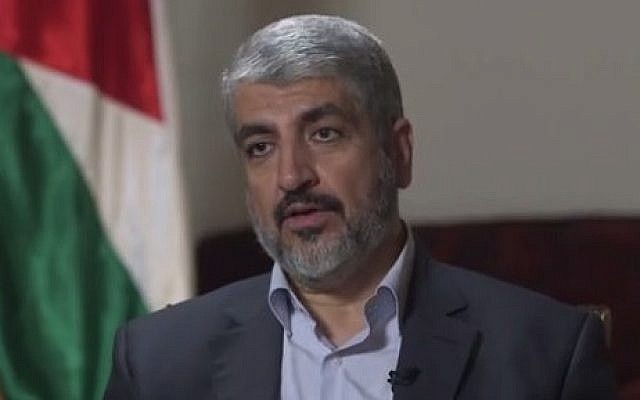 Hamas political chief Khaled Mashaal in Doha, Qatar, August 2014 (screen capture: Yahoo News)