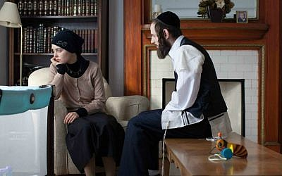Luzer Twersky, right, consulted on and plays a Hasidic character in the forthcoming film 'Felix and Meira.' (Julie Landreville/JTA)