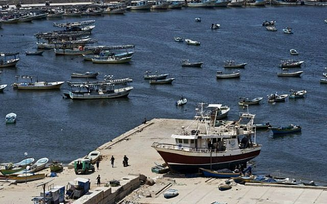 Illustrative: Fishing vessels are moored at Gaza City's harbor on August 18, 2014. (AFP/Roberto Schmidt)