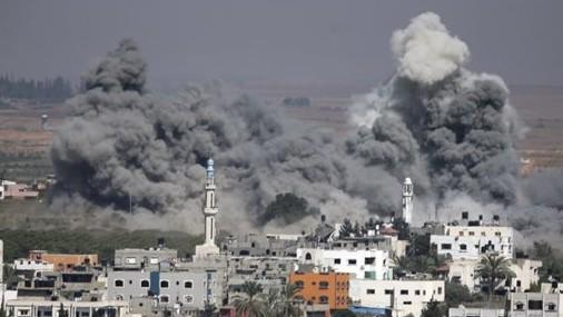 Smoke rises after an Israeli strike in Gaza City, northern Gaza Strip, Thursday, July 31, 2014 (photo credit: AP/Majed Hamdan)