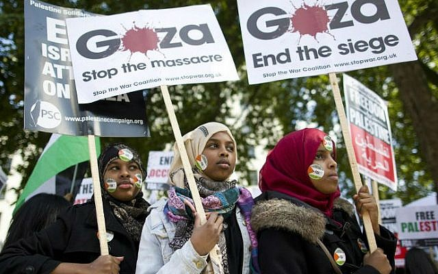 Pro-Palestinian demonstrators hold placards and chant as they protest in London against the conflict in Gaza, on August 23, 2014. (photo credit: AFP/Justin Tallis)