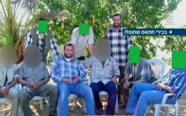 Hamas terror chiefs, including Muhammad Abu Shamaleh and Raed Attar, seen in an undated photo. The two were killed in an August 20 Israeli air strike. (Screen capture: Channel 2)