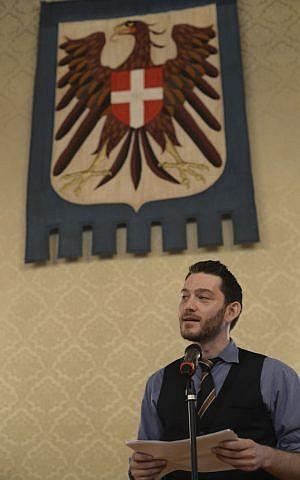 Muslim-Jewish Conference founder and secretary-general Ilja Sichrovsky addresses participants last week in Vienna (photo credit: Daniel Shaked)