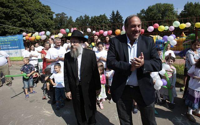 Rabbi Shlomo Gopin (left) and Rabbi Yechiel Eckstein at the Ukrainian 'displaced persons' camp for Jews. (Olivia Pitoussi)