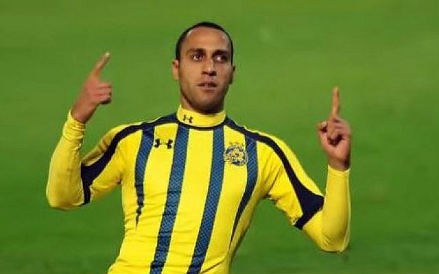 Maccabi Tel Aviv soccer team midfielder Maharan Radi. (screen capture: YouTube/lidor yakovi)