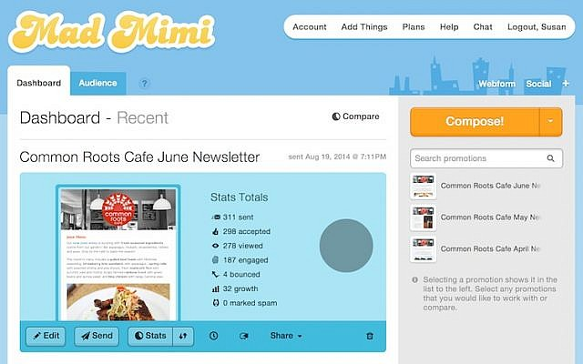 View of the Mad Mimi design dashboard interface (Photo credit: Courtesy)