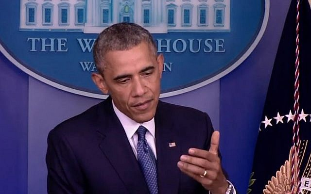 President Barack Obama addresses reporters August 1, 2014. (photo credit: White House stream)